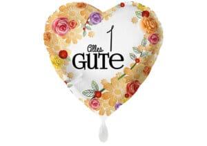 Herzluftballon mit Rosen Alles Gute Zahl 1 weiß (38 cm)