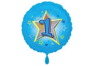 Runder Luftballon mit Stern und Zahl 1 blau (38 cm)