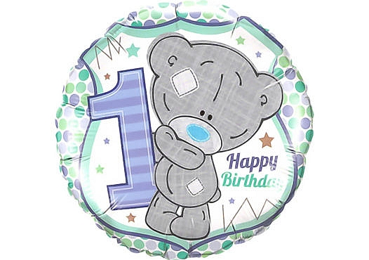 Luftballon Teddybär Junge erster Geburtstag Zahl 1 türkis (38 cm)