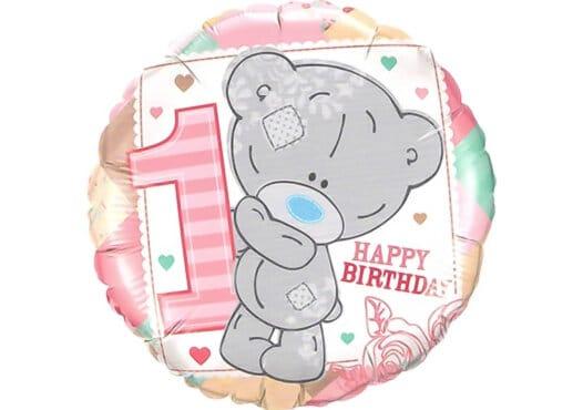 Luftballon Teddybär Mädchen erster Geburtstag Zahl 1 rosa-bunt (38 cm)