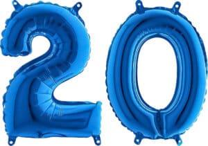 Luftballon Zahl 20 Zahlenballon blau (66 cm)