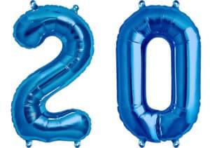 Luftballon Zahl 20 Zahlenballon blau (86 cm)