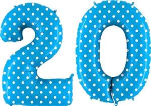 Luftballon Zahl 20 Zahlenballon blau mit weißen Punkten (100 cm)
