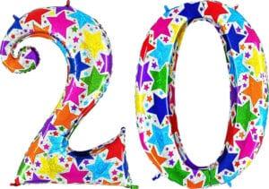 Luftballon Zahl 20 Zahlenballon silber mit bunten Sternen (100 cm)
