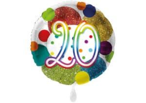 Glitzer-Luftballon mit der Zahl 20 in bunt (38 cm)