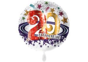 Runder Luftballon mit Glitzersternen und Zahl 20 in weiß (38 cm)
