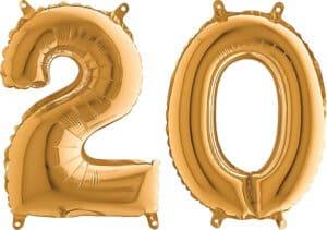 Luftballon Zahl 20 Zahlenballon gold (66 cm)