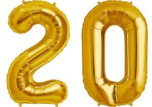 Luftballon Zahl 20 Zahlenballon gold (86 cm)