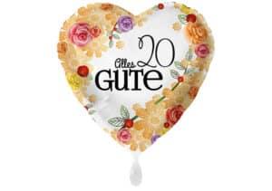 Herzluftballon mit Rosen Alles Gute Zahl 20 weiß (38 cm)