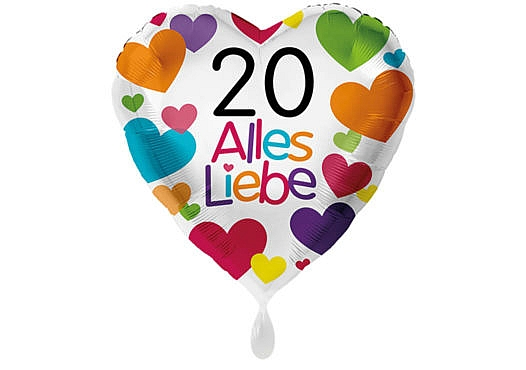 Herzluftballon mit kleinen Herzen Alles Liebe Zahl 20 weiß (38 cm)