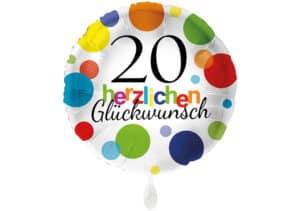 Runder Luftballon mit bunten Punkten Herzlichen Glückwunsch Zahl 20 weiß (38 cm)