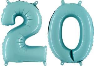 Luftballon Zahl 20 Zahlenballon pastell-blau (100 cm)
