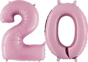 Luftballon Zahl 20 Zahlenballon pastell-pink (100 cm)