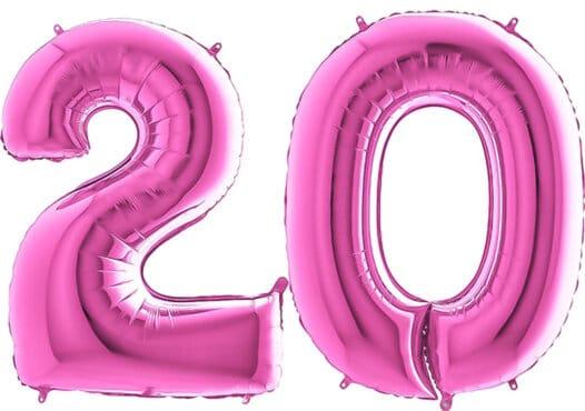 Luftballon Zahl 20 Zahlenballon pink (66 cm)