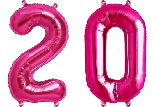 Luftballon Zahl 20 Zahlenballon pink (86 cm)