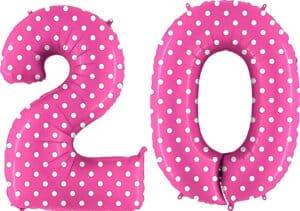 Luftballon Zahl 20 Zahlenballon pink mit weißen Punkten (100 cm)
