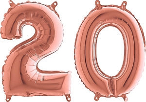 Luftballon Zahl 20 Zahlenballon rosegold (66 cm)