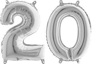Luftballon Zahl 20 Zahlenballon silber (66 cm)