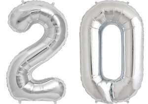 Luftballon Zahl 20 Zahlenballon silber (86 cm)