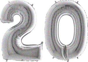 Luftballon Zahl 20 Zahlenballon silber-holographic (100 cm)