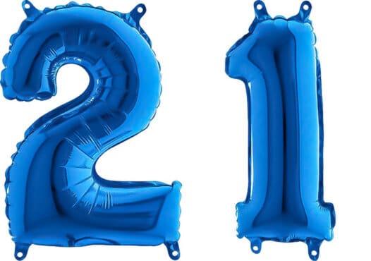 Luftballon Zahl 21 Zahlenballon blau (66 cm)