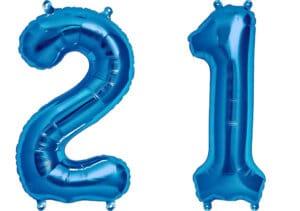 Luftballon Zahl 21 Zahlenballon blau (86 cm)