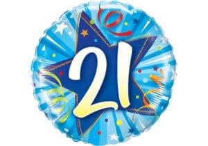 Runder Luftballon mit Stern und Zahl 21 blau (38 cm)