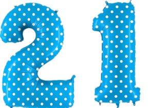 Luftballon Zahl 21 Zahlenballon blau mit weißen Punkten (100 cm)