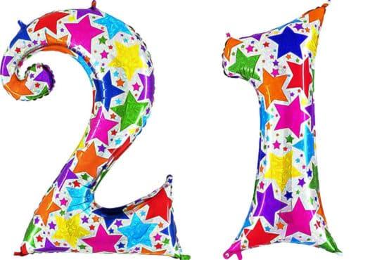 Luftballon Zahl 21 Zahlenballon silber mit bunten Sternen (100 cm)