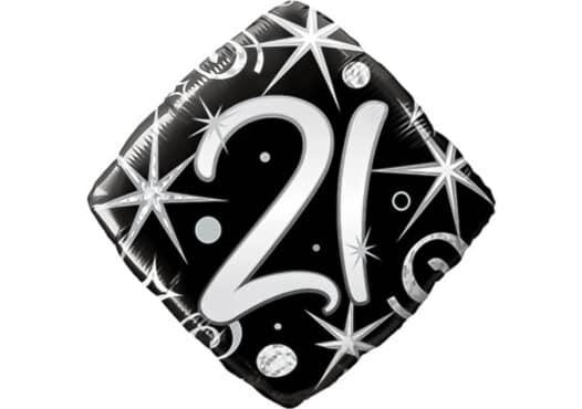 Eleganter Diamant-Luftballon mit Zahl 21 schwarz (38 cm)