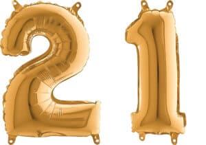 Luftballon Zahl 21 Zahlenballon gold (66 cm)