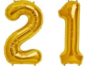 Luftballon Zahl 21 Zahlenballon gold (86 cm)