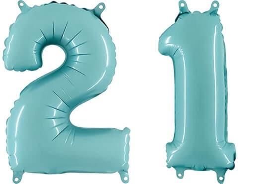 Luftballon Zahl 21 Zahlenballon pastell-blau (100 cm)
