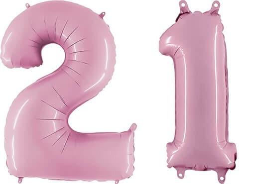 Luftballon Zahl 21 Zahlenballon pastell-pink (100 cm)