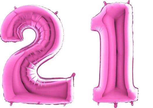 Luftballon Zahl 21 Zahlenballon pink (66 cm)