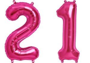 Luftballon Zahl 21 Zahlenballon pink (86 cm)