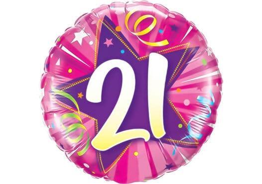 Runder Luftballon mit Stern und Zahl 21 pink (38 cm)