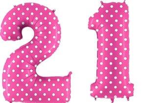 Luftballon Zahl 21 Zahlenballon pink mit weißen Punkten (100 cm)