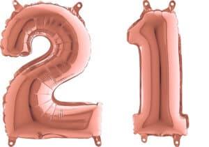 Luftballon Zahl 21 Zahlenballon rosegold (66 cm)