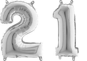 Luftballon Zahl 21 Zahlenballon silber (66 cm)