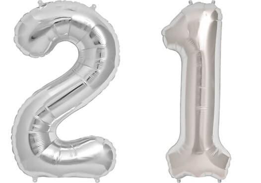 Luftballon Zahl 21 Zahlenballon silber (86 cm)
