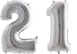 Luftballon Zahl 21 Zahlenballon silber-holographic (100 cm)