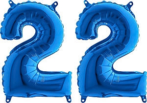 Luftballon Zahl 22 Zahlenballon blau (66 cm)
