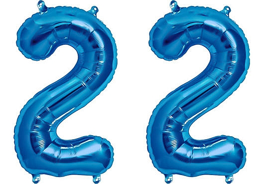Luftballon Zahl 22 Zahlenballon blau (86 cm)