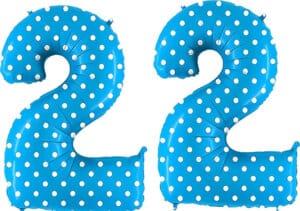 Luftballon Zahl 22 Zahlenballon blau mit weißen Punkten (100 cm)