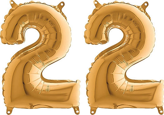 Luftballon Zahl 22 Zahlenballon gold (66 cm)