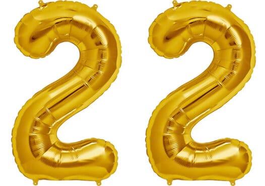 Luftballon Zahl 22 Zahlenballon gold (86 cm)
