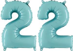 Luftballon Zahl 22 Zahlenballon pastell-blau (100 cm)
