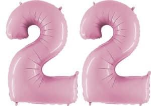 Luftballon Zahl 22 Zahlenballon pastell-pink (100 cm)