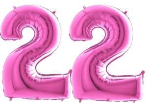 Luftballon Zahl 22 Zahlenballon pink (66 cm)